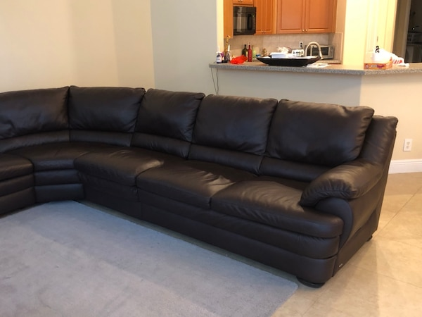 Natuzzi Dark Brown leather sectional couch