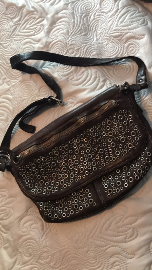 18135ac66e8f Used Women's black and brown Italian leather sling bag for sale in Ottawa