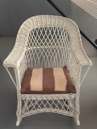 white wicker armchair with ottoman ARLINGTON