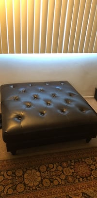 black leather tufted ottoman chair