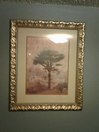 painting of brown trees with beige wooden frame Harwood, 58042
