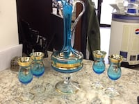 BOHEMIA BLUE/GOLD RED JEWELED DECANTER WITH 4 GLASSES Wilmington