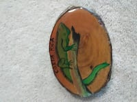 brown and green camelion printed wood