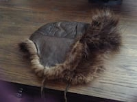 Brown leather and beaver fur men's hat, size XL Calgary, T2X 3M4