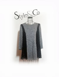 Style & Co. Womens Grey with Black Crochet Accents Casual Top Las Vegas