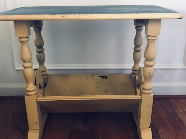 Shabby Chic Yellow Magazine End Table