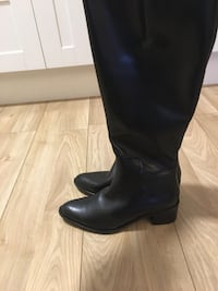 High black leather boots. Size 38 Oslo, 0581