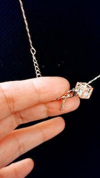 18k gold plated diamond cube necklace necklace