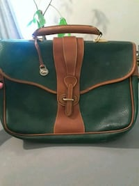 green and brown leather handbag