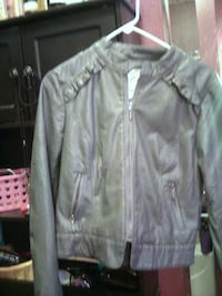 girls leather jacket with ruffled collar