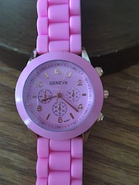 round pink chronograph watch with link bracelet. DISCOUNTED!