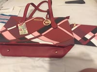 red and black leather tote bag Detroit, 48228