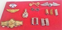 Lot includes assorted military badges & pins  Weedsport