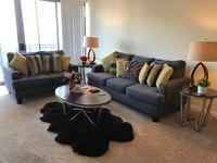 "Like NEW ""Full set"" 5 seats sofa, 3 tables,  rug , and 2 table lights Towson, 21286"
