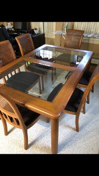 Rectangular brown wooden table with six chairs dining set 385 mi
