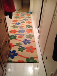 Tapis de zone florale blanc et orange