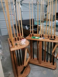 2 Oak Wood Pool Stick Racks With Sticks College Park