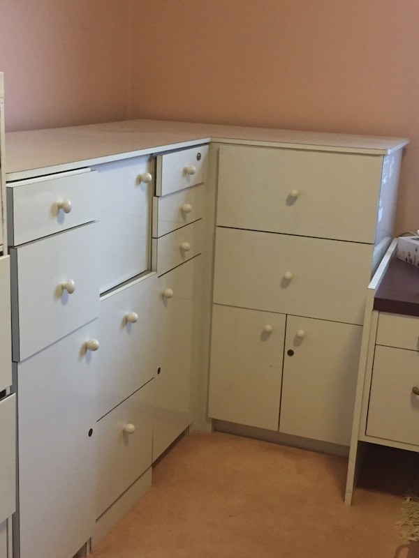 White l shaped office cabinet and drawers