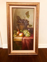 green and purple grapes painting with brown wooden frame