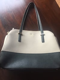 White and black leather tote bag Burlington, L7L 7E7