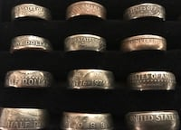 Coin rings different size . Price starts at 10 . Silver options available . Dickinson, 58601