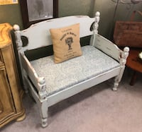 (SJA) White Distressed Adirondack Bench (Made from a Bed Frame)