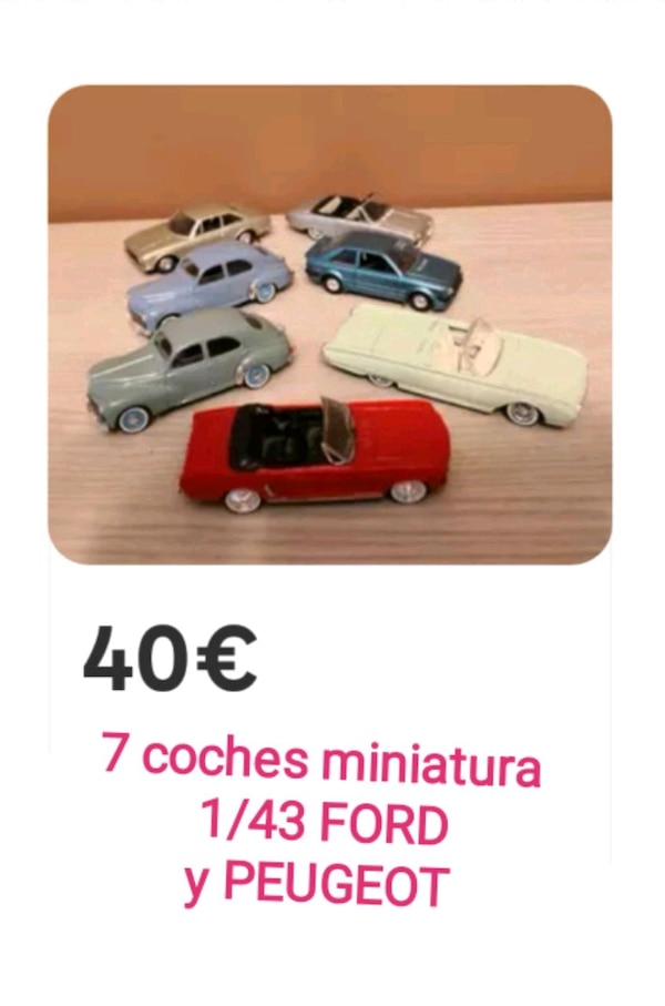 7 coches miniatura Ford y Peugeot 1/43