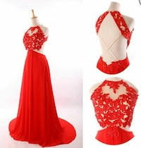 women's red halter prom special occasion dress