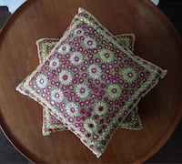 ONE OF A KIND Fuchsia and Lime Mirrored Embroidered Cushions, 2 Montreal