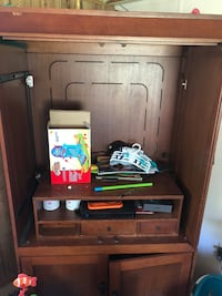 Brown wooden tv hutch with flat screen television Mabelvale, 72103