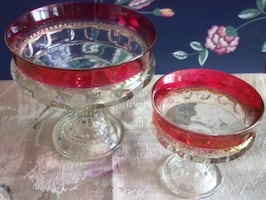 2 Original 'Cranberry Glass' Bowls