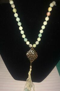 Natural stones, beaded necklace w/ tassels & beads