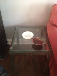 Table glass top side table chrome legs