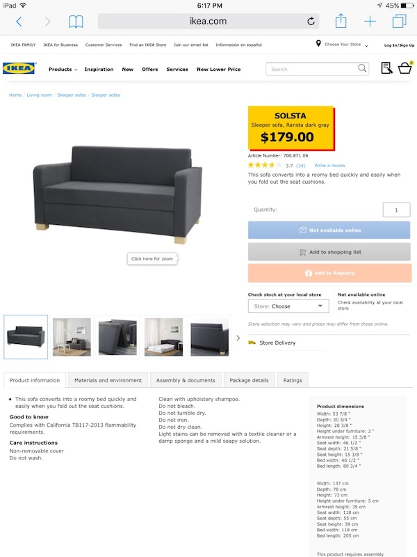 Used Ikea Solsta Sofa Bed Original Price 179 For Sale In New