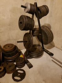 Weights, bench, Barbells and Dumbbells