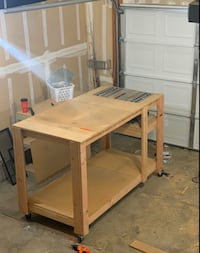 Table Saw & Custom Work Bench On Locking Casters