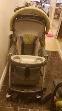 gray and white Chicco stroller