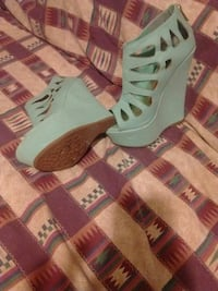 Lazer cut  mint green wedge platforms Bakersfield, 93308