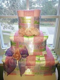 Square Pink Baby Diaper Cake