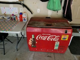 Vintage Coca Cola Cooler.  All original, works gre