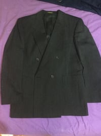 Evan Picone Mens dbl breasted black pin-striped suit 42R Pants 34x28 Alexandria