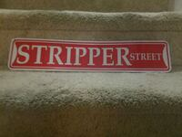 Red and white stripper sign Thurmont, 21788