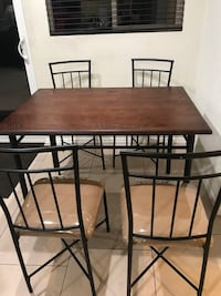 rectangular brown wooden table with four chairs dining set Los Angeles, 91606