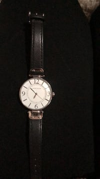 round silver-colored analog watch with black leather strap Hamilton, L9C 2V2