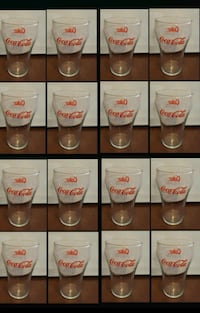 """16 PC Vintage Coca Cola 10 oz Glasses - Red Letters 5"""" Tall Queens, 11106"""