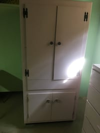 Quirky free standing storage cabinet handcrafted from old kitchen cabinet Arlington Heights