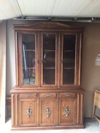 Wood veneer china cabinet,  4foot 11 by 7 foot 1 inch at longest and widest points.  Lit interior, 2 pcs St Albert, T8N 5T7