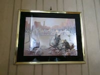 brown wooden framed painting of house London