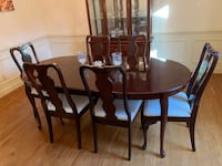 Rectangular brown wooden table with four chairs dining set Midlothian, 23112