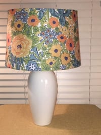Home Décor:  White Lamp with Floral Fabric Print Shade  Lansdowne